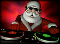 Santa Clause spinning records